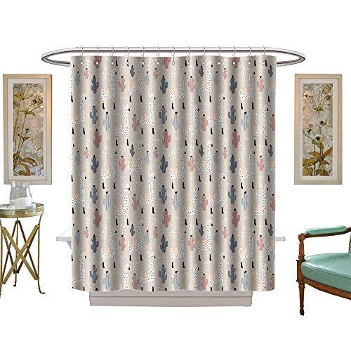 luvoluxhome Shower Curtains Fabric Modèle sans Couture avec lamma Cactus et éléments dessinés à la mainIdéal Pour le Tissu W72 x L84 Fabric Bathroom Set with Hooks -