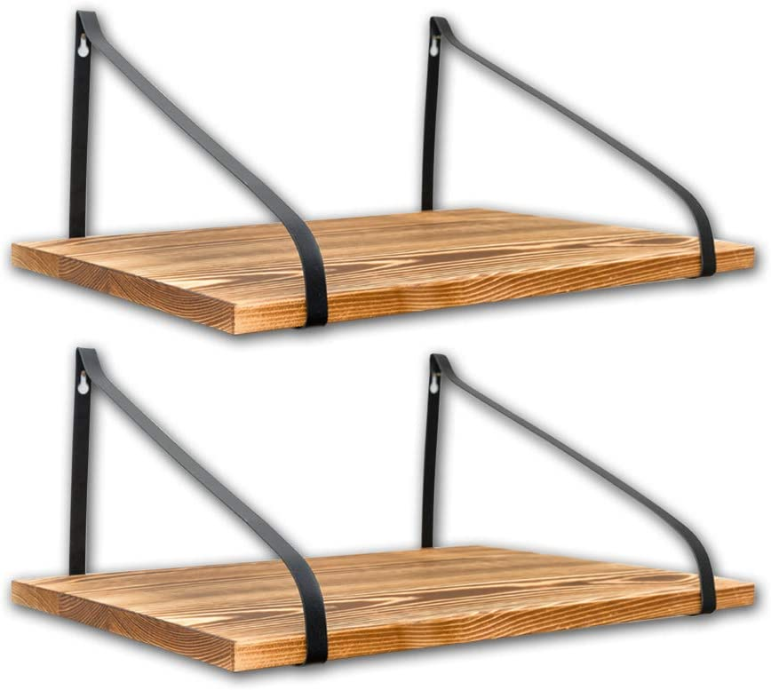 East World Floating Shelves Set of 2 Rustic Shelves Wall Mounted (Torched Browns)