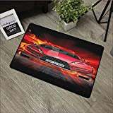 Living room door mat W31 x L47 INCH Cars,Front View of a Fire Car Speeding Hot Flames on Abstract Backdrop Concept Design, Red Orange Black Easy to clean, no deformation, no fading Non-slip Door Mat C