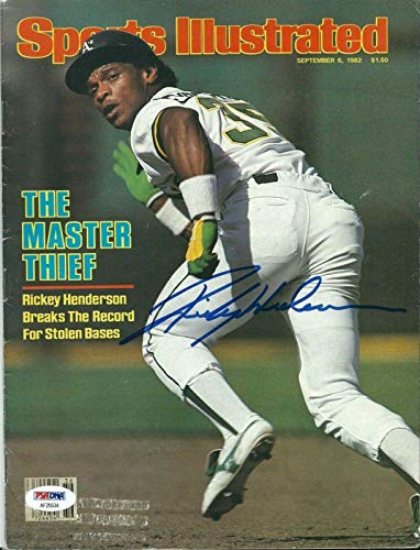 (Rickey Henderson Signed Athletics Sports Illustrated Baseball Magazine - PSA/DNA Certified - Autographed MLB Magazines)