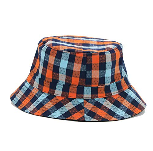 Classic Plaid Canvas Bucket Men's and Women's Fisherman's Hat Outdoor Visor Top Cap Double-Sided Wearable Hat Orange ()