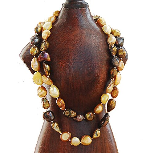 9-10mm Baroque Cultured Freshwater Pearl Necklace Strand Endless Palette Series SWIRL OF LEAVES (Pearl Swirl Necklace)