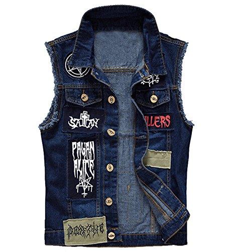 - Allonly Men's Fashion Hip Hop Printed Denim Vest Sleeveless Punk Stylish Jeans Jacket Vest