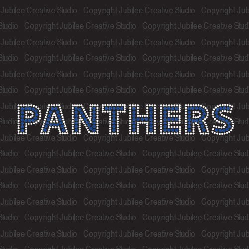 Panthers Cobalt Iron On Rhinestone Crystal T-Shirt Transfer by Jubilee (Panther Rhinestone)