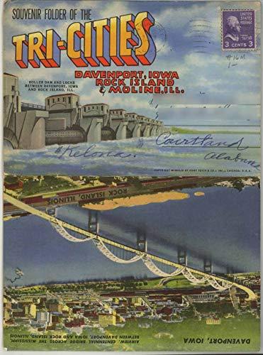 Tri-Cities - Davenport Iowa, Rock Island & Moline Illinois - 1949 Curt Teich Souvenir Postcard Folder
