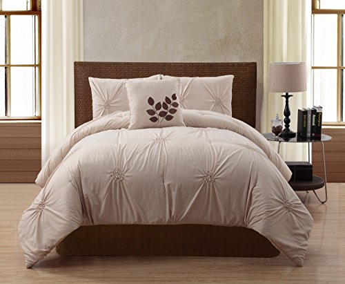 VCNY London 4-Piece Comforter Set, Queen, Taupe ()