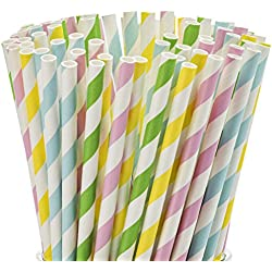 "Smoothie Straws 100 Pack Wide 0.37"" Multi Colored Disposable Milkshake Drinking Straw Assorted – by DuraHome (200 Pack)"