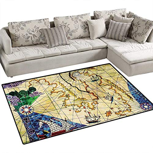 (Compass Door Mats Area Rug Old Nautical Chart Ancient Map Historical Territories Geographical Illustration Bath Mat Non Slip 3'x5' Beige Navy)