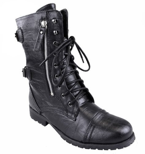 WOMENS LADIES ARMY COMBAT LACE UP ZIP GRUNGE MILITARY BIKER TRENCH PUNK GOTH ANKLE BOOTS SHOES SIZE Black Faux Leather / Zip HzTCALzd7