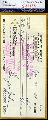 HENRY JORDAN JSA COA CERTIFIED AUTHENTIC HAND SIGNED CHECK AUTOGRAPH