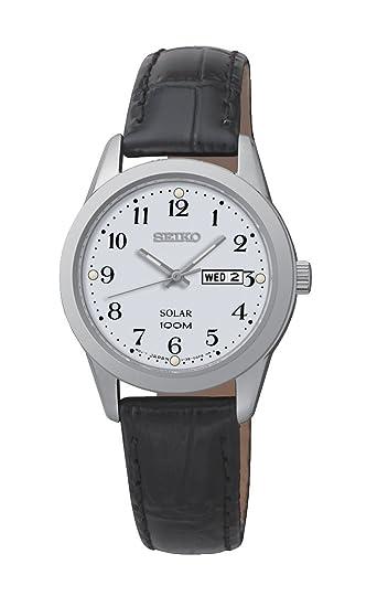 Seiko Solar - Reloj de cuarzo para mujer, correa de cuero color negro: Amazon.es: Relojes