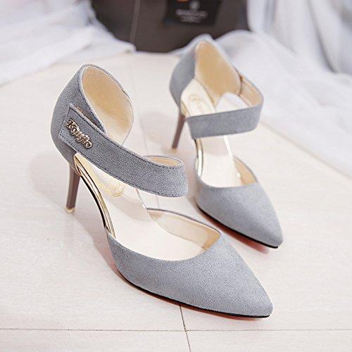 ammenda punta AMMENDA con L' versatile Heel scarpe cava Estate elegante con grigio Baotou e 37 High fPqTwH