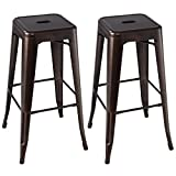 GHP Pack of 2 Copper Powder-Coated Steel Vintage Antique Style Counter Bar Stools