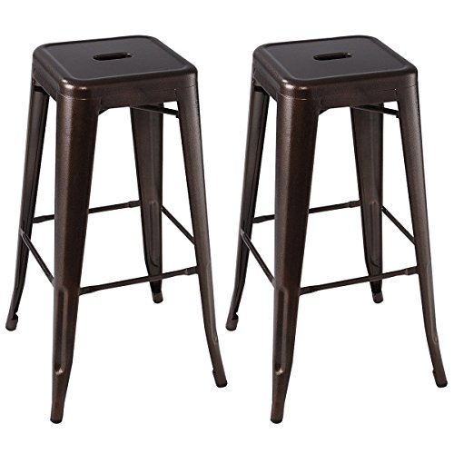 Giantex Set of 2 Metal Steel Bar Stools Vintage Antique Style Counter Bar Stool (Copper)