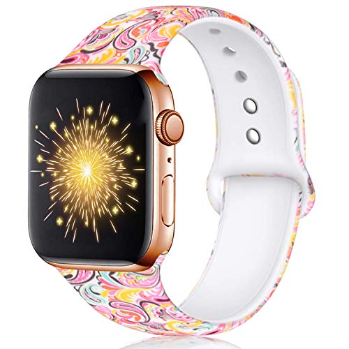 Haveda Floral Bands Compatible with Apple Watch Band 38mm 40mm, Soft Pattern Printed Silicone Sport Replacement Wristbands for Women Men Kids with iWatch Series 4 Series 3/2/1, S/M, Colorful Cloud