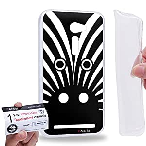 "Case88 [Asus Zenfone 2 5.0"" ZE500CL] Gel TPU Carcasa/Funda & Tarjeta de garantía - Art Drawing Fashion Zebra Full Face Animal Portraits"