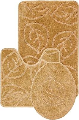 Homemusthaves 3 Piece Bath Rug Set Leaf Pattern Bathroom Rug Contour Lid Cover (Beige)