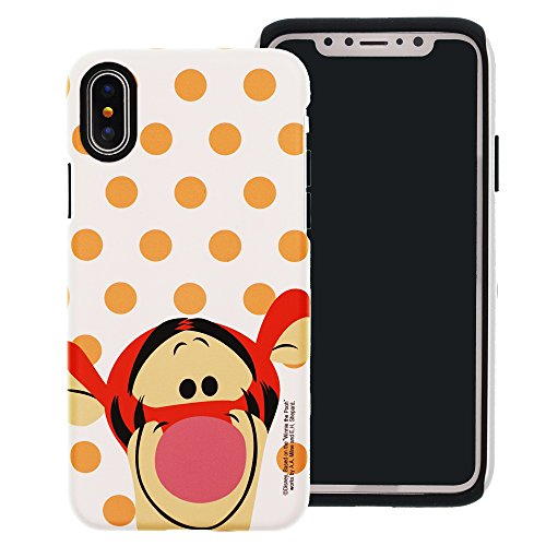 iPhone XR Case [Heavy Drop Protection] Disney Cute Tigger Layered Hybrid [TPU + PC] Bumper Cover for [ Apple iPhone XR (6.1inch) ] - Dot -