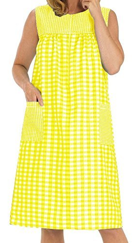 EZI Women's Sleeveless Zipper Gingham Shift House Dress Duster ,X-LargeF,Yellow