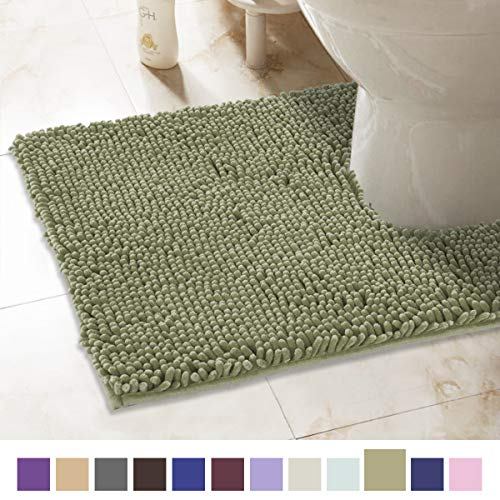 (ITSOFT Non-Slip Shaggy Chenille Toilet Contour Bathroom Rug with Water Absorbent, Machine Washable, 21 x 24 Inch U-Shaped Sage Green)