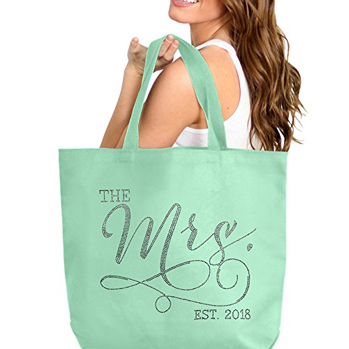 The Mrs. EST 2018 Mint Rhinestone Jumbo Canvas Bridal Tote Bag For the Bride to Be - 18