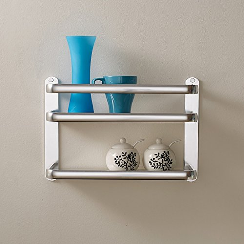 XY Soap dish Thick Space Aluminum Kitchen Shelf Wall Hanging Seasoning Rack Kitchen Supplies Storage Rack Double Pendant 2 Layer 27cm 40cm 13cm by XY Soap dish (Image #2)
