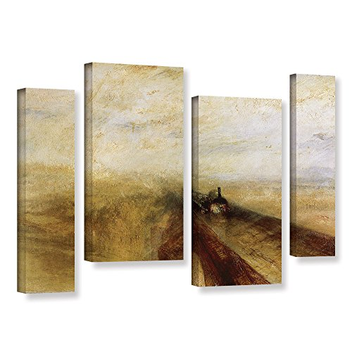 ArtWall William Turner's Rain Steam & Speed The Great Western Railway 4 Piece Gallery-Wrapped Canvas Staggered Set, 24 by 36