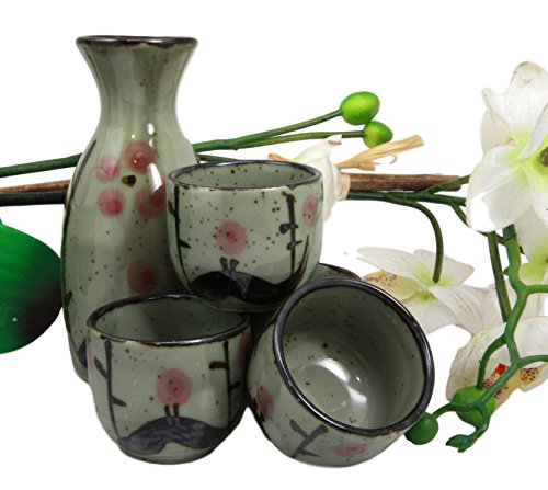 (Atlantic Collectibles Japanese 5oz Ceramic Matcha Cherry Blossom Sake Set Flask With Four Cups Made In Japan)