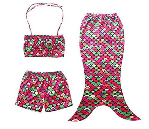 Girl Little Mermaid Tail Swimmable Swimming Princess Costume Swimsuit Bikini Set (110(4T), color)