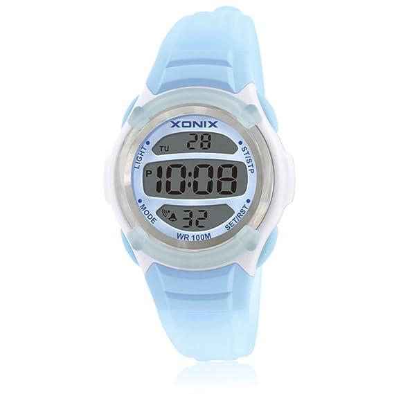 Reloj de niños led digital tiempo luminoso impermeable multifunción chica niño estudiante reloj digital-A: Amazon.es: Relojes
