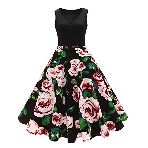 HGWXX7 Women's Vintage Sleeveless Floral Print Button High-Waist Pleated Dress (L, Black) -