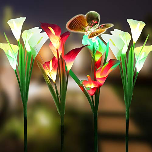 - WOSPORTS 4 Pack Solar Lights Outdoor Garden Stake Flower Lights with 1 Butterfly and 15 Lily Flower, Multi Color Changing LED Lily Solar Powered Lights for Patio, Lawn, Garden, Yard Decoration