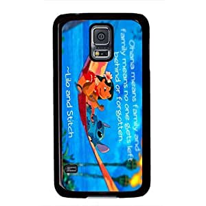 Galaxy S5 Case,Lilo and Stitch Ohana Quote PC Black Phone Case Cover for Samsung Galaxy S5 i9600 DIY Portector by iCustomonline