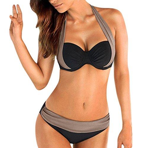 (Perman Womens Swimwear Bikini Set, Low Cut Halter Splice Two-Piece Swimsuit)