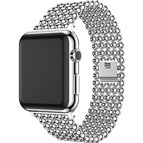 SUNLMG Stainless Steel Wuzhu Steel Belt Iwatch Strap 38Mm 40Mm 42Mm 44Mm Women Replacement Wristband Sport Bracelet with Clasp for Series 4 3 2 1,Silver,42Mm ()