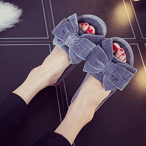 Women's Slip Slippers Cute Non LINGMIN Comfort Decorate Bowtie Grey Velvet 4gf7qw