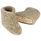Heller Vertrieb 100% Pure Sheep Wool Slippers Cosy House Shoes Boots Women's 7 - 8.5 Men's 5 -6 (S) Grey