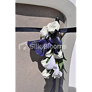 Midnight Blue Vanda Orchid, White Rose and Iris Wedding Pew End 7