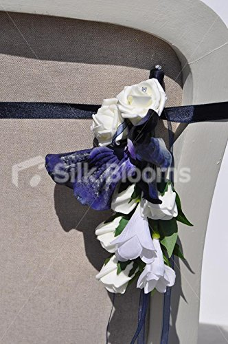 Midnight-Blue-Vanda-Orchid-White-Rose-and-Iris-Wedding-Pew-End