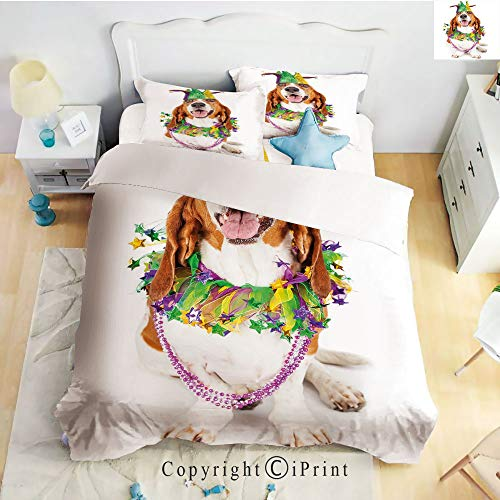 Bed Sheet Set Twill Sanding,Happy Smiling Basset Hound Dog Wearing a Jester Hat Neck Garland Bead Necklace Decorative,Multicolor,Queen Size,Wrinkle,Stain Resistant Hypoallergenic 4 Piece