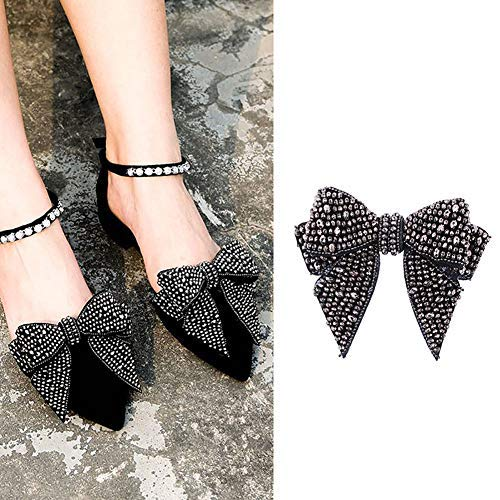 2PCS DIY Handmade Rhinestone Bow Butterfly Shoe Straps Band Shoe Flower Accessories Shoes Decoration Charms Flats High Heels/Pumps Holder Shoe Decor for Lady Women (Style A#)