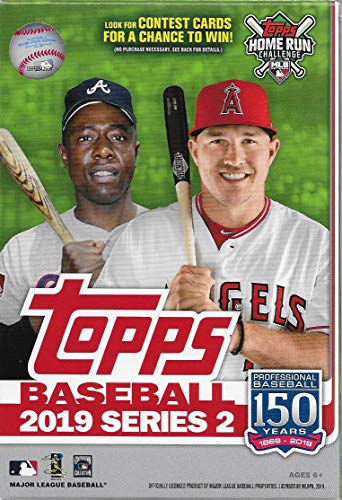Topps Baseball Series - Hanger Box 2019 Topps Baseball Factory Sealed Series Two with 67 Cards Including Possible Autographs Rookies Game Used Relic Cards and More