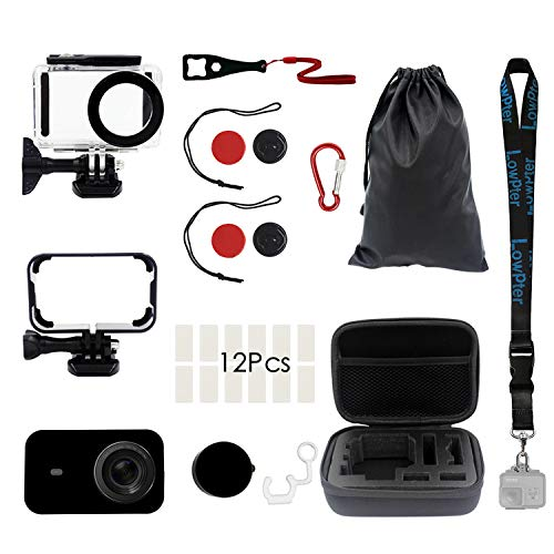 Lowpter 12 in 1 Xiaomi mijia 4K Action Camera Accessories Kit, 45m Diving Waterproof Housing Case Protection Case for Xiaomi mijia 4K Action Camera.