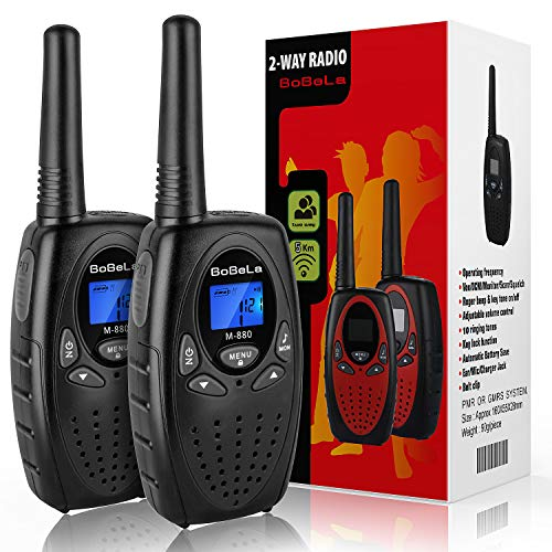 Bobela Two Way Radio for Camping, Clear Sound and 2 Miles Range Up to 3 Miles Handheld Work Walkie Talkie for Adults, Best Gifts for Men for Hiking Cruise Travel Outdoor Adventure (Black, 2 Pack )