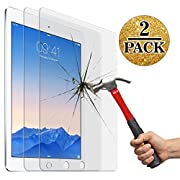 Screen Protector for New iPad 9.7inch (2017),IPad Air 1 2/ Ipad Pro 9.7 Inch (2 packs), Jusney® 0.33mm Ultra Thin 9H Hard Crystal Clear Tempered-Glass High Response 3D Touch