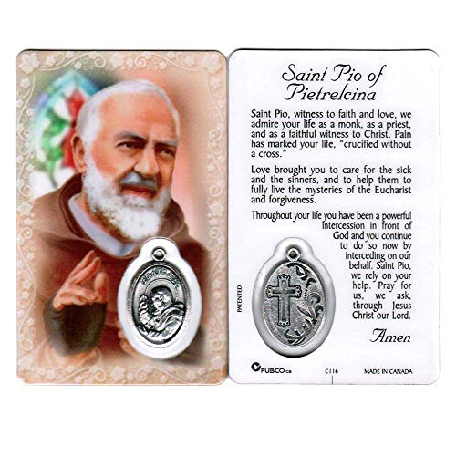 - Saint Padre Pio of Pietrelcina Holy Card with Medal | Patron of Stress Relief