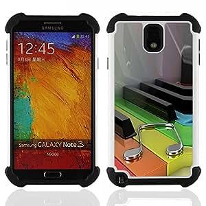BullDog Case - FOR/Samsung Galaxy Note3 N9000 N9008V N9009 / - / Music Color Piano /- H??brido Heavy Duty caja del tel??fono protector din??mico - silicona suave