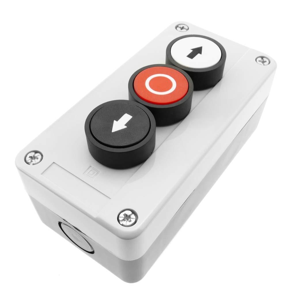 BeMatik Bo/îte de commande avec 3 boutons poussoirs momentan/és con frecce 2NO et stop 1NC