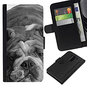 All Phone Most Case / Oferta Especial Cáscara Funda de cuero Monedero Cubierta de proteccion Caso / Wallet Case for LG G3 // English Bulldog Gray Black White Dog