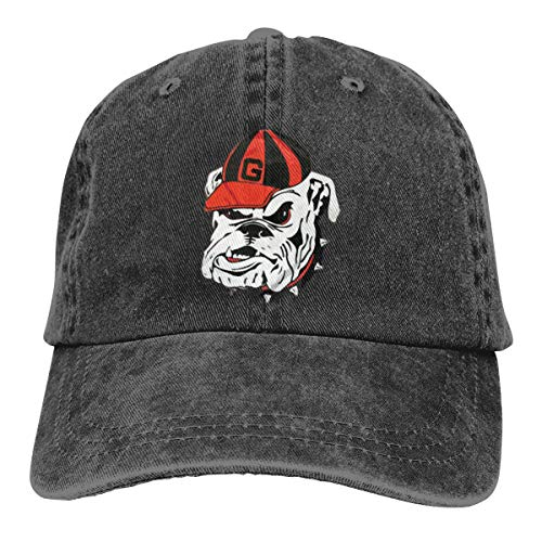 Georgia Bulldogs Logo Washed Denim Hat Adjustable Unisex Dad Baseball Caps
